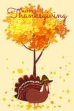 Gelukkige Dankzeggingsviering met Beeldverhaal Turkije en Autumn Tree en Bladeren Vector, Illustratie, Ontwerp, Baner vector illustratie