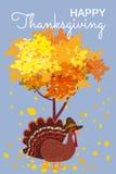 Gelukkige Dankzeggingsviering met Beeldverhaal Turkije en Autumn Tree en Bladeren Vector, Illustratie, Ontwerp, Baner stock illustratie
