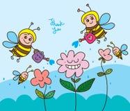 Gelukkige de bloem van het bijenwater dankt u stock illustratie