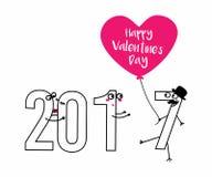 Gelukkige de Dag 2017 kaart van Valentine s romantisch mooi paar in liefde hart met wens Een uitnodiging Mooi concept voor a Royalty-vrije Stock Foto