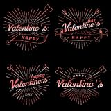Gelukkige de Dag vector uitstekende illustratie van Valentine s Reeks tekens met zonstralen en pijlen Zegelsetiket met zonstralen Stock Afbeeldingen