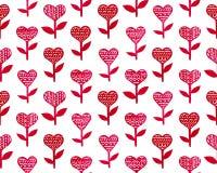 Gelukkige de Daghand getrokken leuke illustratie van Valentine ` s met harten en bloemen Stock Afbeeldingen