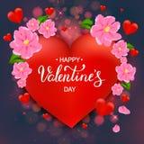 Gelukkige de dagkaart van Valentine ` s met rode harten, roze bloemen, hand Stock Afbeeldingen