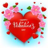 Gelukkige de dagkaart van Valentine ` s met rode harten, roze bloemen, hand Stock Fotografie