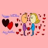 Gelukkige de Dagkaart van Valentine s met teksten Stock Foto