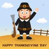 Gelukkige de Dankzeggingskaart van de pelgrimsmens Stock Foto