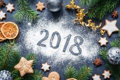 2018 Gelukkige de Decoratieachtergrond van Nieuwjaar Vrolijke Kerstmis Royalty-vrije Stock Foto