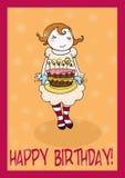 Gelukkige de groetenkaart van de verjaardagscake Stock Afbeeldingen