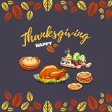 Gelukkige de groetkaart van de Dankzegging Stock Fotografie
