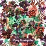 Gelukkige de groetkaart van de dankzeggingswaterverf met abstracte bloem Royalty-vrije Stock Afbeeldingen