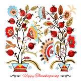 Gelukkige de groetkaart van de dankzeggingswaterverf met rode bessen en Royalty-vrije Stock Afbeeldingen