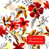 Gelukkige de groetkaart van de dankzeggingswaterverf met rode bloemen en Royalty-vrije Stock Fotografie