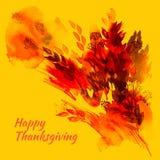 Gelukkige de groetkaart van de dankzeggingswaterverf met rood en oranje Stock Fotografie