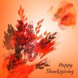 Gelukkige de groetkaart van de dankzeggingswaterverf met rood en oranje Stock Foto's