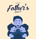 Gelukkige de groetkaart van de vader` s dag, Blauw toonontwerp Royalty-vrije Stock Foto