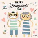 Gelukkige de Groetkaart van de Grootoudersdag Paar van de oude vectorillustratie van beeldverhaalkatten vector illustratie