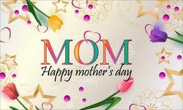 Gelukkige de groetkaart van de Moeder` s Dag Achtergrond met mooie tulpen en sterren, vakantieachtergrond Vector illustratie - Be stock illustratie