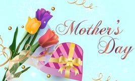 Gelukkige de groetkaart van de Moeder` s Dag Achtergrond met mooie tulpen, vakantieachtergrond Vector illustratie - Beelden vecto royalty-vrije illustratie
