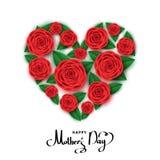 Gelukkige de groetkaart van de moeder` s dag met hart van rode rozen Stock Foto's
