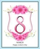 Gelukkige de groetkaart van de Vrouwen` s Dag, vrouwen en tekst 8ste Maart Royalty-vrije Stock Afbeelding