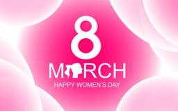 Gelukkige de groetkaart van de Vrouwen` s Dag op roze abstracte achtergrond met stock illustratie