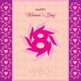 Gelukkige de groetkaart van de vrouwen` s dag Prentbriefkaar op 8 Maart Tekst met bloemen royalty-vrije illustratie