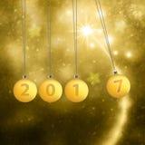 Gelukkige de illustratieachtergrond van Nieuwjaarbollen Stock Afbeelding