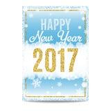 Gelukkige de kaart gouden tekst en sneeuwvlokken van de Nieuwjaar 2017 groet Stock Foto