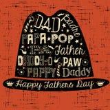Gelukkige de kaarthand getrokken illustratie van de Vadersdag met hoed Stock Foto