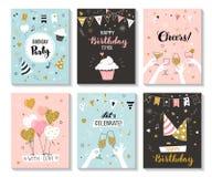 Gelukkige de kaartmalplaatjes van de verjaardagsgroet stock afbeeldingen