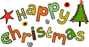 Gelukkige de Krabbeltekst van het Kerstmisbeeldverhaal vector illustratie