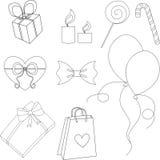 Gelukkige de lijnreeks van verjaardagselementen royalty-vrije illustratie