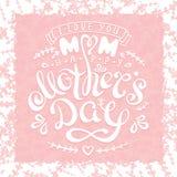 Gelukkige de Moedersdag van de handschriftuitdrukking met getrokken bloemen en hart Royalty-vrije Stock Afbeelding