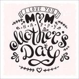 Gelukkige de Moedersdag van de handschriftuitdrukking met getrokken bloemen en hart Royalty-vrije Stock Foto