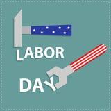 Gelukkige de Moersleutelsleutel en hamer van de arbeidsdag met ster stip vlak ontwerp Stock Afbeelding