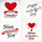 Gelukkige de typografie vastgestelde groet van de valentijnskaartendag Stock Foto