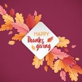 Gelukkige de typografieaffiche van de Dankzeggingsvakantie Vieringstekst met de Achtergrond van de Herfstbladeren voor prentbrief Stock Afbeeldingen