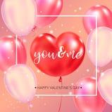 Gelukkige de typografieaffiche van de Valentijnskaartendag met met de hand geschreven kalligrafieteksten royalty-vrije illustratie