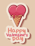 Gelukkige de valentijnskaart` s dag van de roomijskegel Royalty-vrije Stock Afbeeldingen