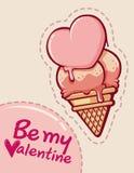Gelukkige de valentijnskaart` s dag van de roomijskegel Royalty-vrije Stock Afbeelding