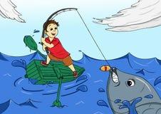 Gelukkige de vangst grote vissen van het visserijjonge geitje vector illustratie
