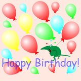 Gelukkige de Verjaardagsballen en krokodil van de groetkaart Royalty-vrije Stock Foto