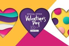 Gelukkige de Verkoopbanner van de Valentijnskaartendag Ontwerp voor vakantievlieger, affiche, groetkaart, partijuitnodiging Vecto Stock Foto's