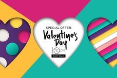 Gelukkige de Verkoopbanner van de Valentijnskaartendag Ontwerp voor vakantievlieger, affiche, groetkaart, partijuitnodiging Vecto Royalty-vrije Stock Foto