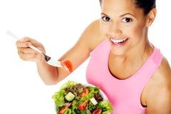 Gelukkige de vrouw van de salade Stock Afbeelding