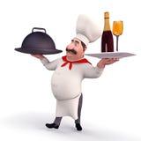 Gelukkige de wijnfles van de chef-kokholding Royalty-vrije Stock Afbeeldingen