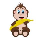 Gelukkige die aap met banaan op witte achtergrond wordt geïsoleerd Stock Fotografie
