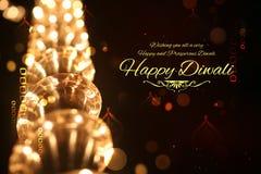 Gelukkige die Diwali-achtergrond met licht wordt verfraaid Stock Foto's