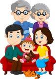 Gelukkige die familie op witte achtergrond wordt geïsoleerd royalty-vrije illustratie