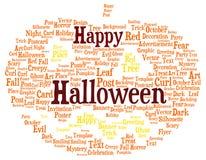 Gelukkige die Halloween-woordwolk als pompoen wordt gevormd vector illustratie